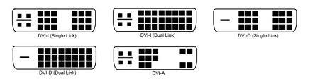 DVI csatlakozó típusok
